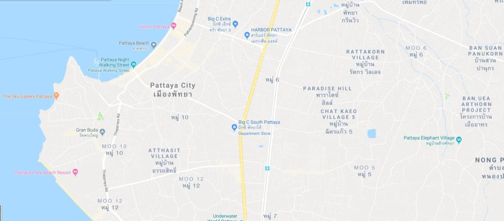 Pattaya houses for rent map